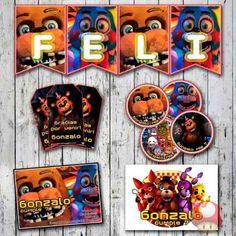 Kit Five Nights At Freddy's Invitaciones, Stickers, Banderín