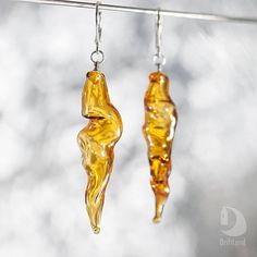Hand blown glass Yellow Amber earrings Boho Transparent Dangle