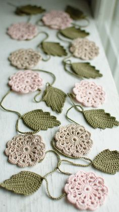 Wedding garland - Crochet flower garland - Wedding Birthday Party Valentine decoration Shabby chic Photo prop. $45.00, via Etsy.