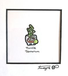 """Framed Original Ink and colored markers on bristol 3"""" x 3"""" double matted in 12"""" x 12"""" frame By Turtle Wayne"""