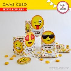 Emojis: wrappers y toppers 7th Birthday Party Ideas, Birthday Parties, Holidays And Events, Pikachu, Packaging, Box, Texts, Printable Stencils, Tags