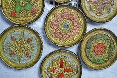 Vintage Italian Coaster Set of 10 Florentine Gilt Drink