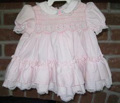 Vintage Polly Flinders Smocked Pink Baby Dress