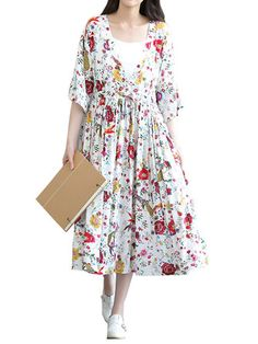 Women Mori Girl Style Floral Printing Pleated Two-Piece Dress