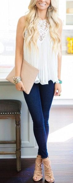 #spring #outfits White Sleeveless Lace Top & Navy Skinny Jeans & Beige Laced Up Pumps