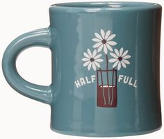 Treasures By Brenda: 31 DAYS OF COFFEE MUGS: Five Fabulous Turquoise Blue Mugs - Shown here Life is Good's Half Full mug.