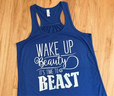 This listing is for a women's Wake Up Beauty, Its Time to Beast racerback tank top. This funny workout shirt makes the perfect motivational outfit for the gym. This flowy tee is so soft and comfortable that you'll want to wear it all the time! Makes a great birthday gift for anyone interested in health and fitness. Check it out here: https://www.etsy.com/heartfeltsy/listing/527084254