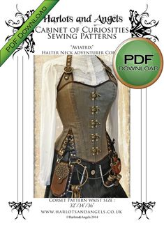 Unique Corset Sewing Pattern. PDF Steampunk by Harlotsandangels, $15.00