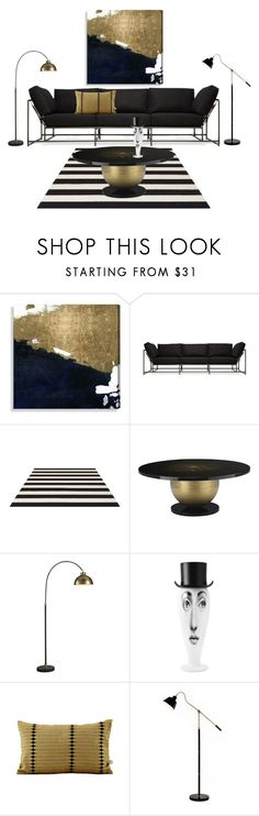 """""""black and gold modern glamour"""" by piplusc ❤ liked on Polyvore featuring interior, interiors, interior design, home, home decor, interior decorating, Oliver Gal Artist Co., Stephen Kenn, Fornasetti and House Doctor"""