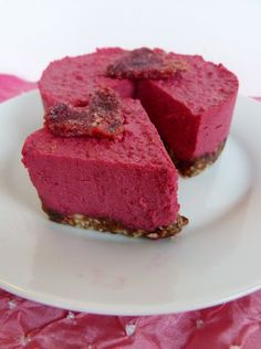Raw Beet Cheesecake. Gluten free and vegan with no unhealthy ingredients at all. Wonder if I could get away with making this.
