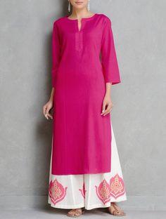 Buy Fuschia Pintuck Cotton Kurta by Ruh Online at Jaypore.com