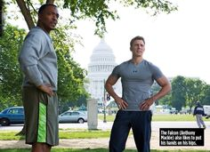 Anthony Mackie and Chris Evans in Captain America: The Winter Soldier
