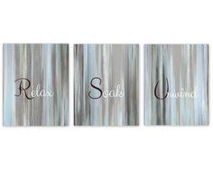Bathroom Wall Art Relax Soak Unwind Abstract Prints Set of 3