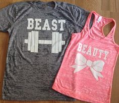 Free/Fast Shipping for US Beauty And The Beast Burn Out Tee and Tank.Gray and Pink(White Decal)