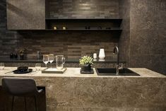 Modern kitchen with black synthetic granite Silgranit sink Beautiful Kitchen Designs, Modern Kitchen Design, Beautiful Kitchens, Open Space Living, Living Spaces, Small Kitchen Pictures, Decorating With Pictures, Furniture Layout