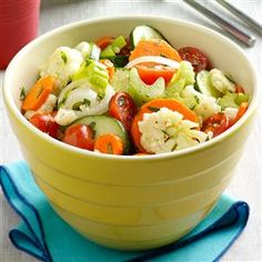 Marinated Fresh Vegetable Salad Recipe -This crisp, colorful salad is full of goodness from the garden. The light marinade lets the fresh flavor of the vegetables come through. For variety, I sometimes substitute sliced zucchini for the cucumber. —Harriet Stichter, Milford, Indiana