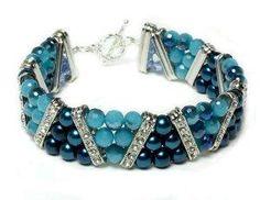Shades of Blue Beaded Bracelet. Craft ideas from LC.Pandahall.com    #pandahall