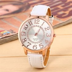 >> Click to Buy << Big Face Dial Women Watch Golden Numbers Quartz Wristwatch girl fashion PU Leather reloj mom gift #Affiliate