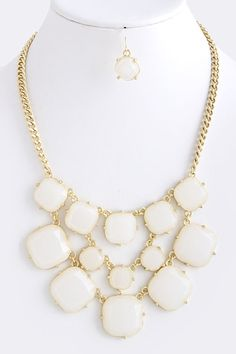 White Square Jeweled Statement Necklace ZokyDoky.com