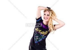 smiling young woman with hands in hair. - Smiling young woman with hands in hair over white background, Model: Christine VDB