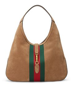 Jackie Soft Large Suede Hobo Bag, Taupe by Gucci at Neiman Marcus.