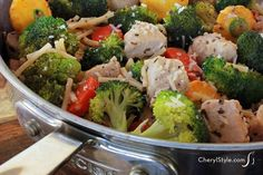 One pan sauteed chicken with veggies and angel hair pasta