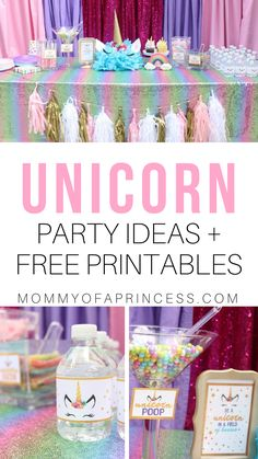 birthday party decorations 547680004685071067 - Ideas for a unicorn childs birthday party including free unicorn water bottle printables and free printable unicorn food labels. Diy Unicorn Birthday Party, Rainbow Unicorn Party, Unicorn Birthday Parties, First Birthday Parties, First Birthdays, Birthday Crafts, 30th Birthday, Turtle Birthday, Turtle Party