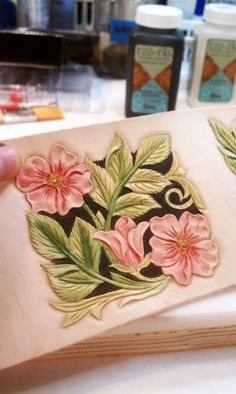 From my workbench: Old rose pattern liquor flask wrap with color added