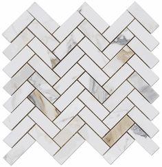 """Calacatta Gold Italian Marble 1x3"""" Herringbone Mosaic Polished"""