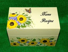Decorative Personalized Recipe Box Sunflowers Wood Recipe Card