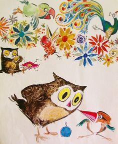 Vintage Owl Print Australian Birds Owl by RosemyneVintage on Etsy, $8.00