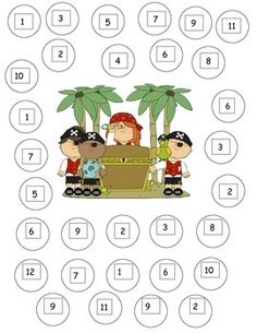 Pirate Roll and cover math game! Students roll dice and cover the numbers with counters or color them in, fun! Preschool Letters, Preschool Math, Kindergarten Activities, Therapy Activities, Pirate Activities, Pirate Games, Pirate Day, Pirate Theme, Dice Games