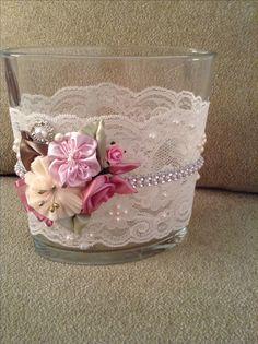 Beautiful altered vase.  Upcycled by Juana Hudson.