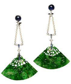 Cabochon sapphire, jade and pearl fan shaped earrings, circa 1925.