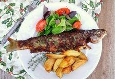 Papírban sült pisztráng Hungarian Recipes, Hungarian Food, Fish Dishes, Salmon, Steak, Pork, Vegetarian, Lunch, Beef