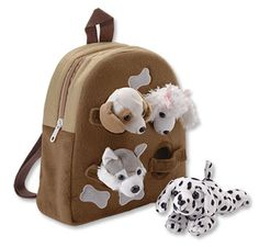 Four furry friends peek out the windows of this child's soft, plush animal backpack. Your child can take the animals out to play and return them to the backpack for safekeeping and travel.