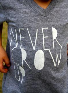 Never Grow Up- Childrens TShirt- Kids Shirt- Gray White Shirt for Kids- Cool Shirt for Kids- Never Grow Up- Tshrit- American Apparel Tri