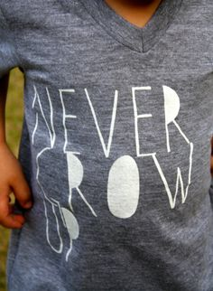 Never Grow Up- Childrens TShirt- Kids Shirt- Gray White Shirt for Kids- Cool Shirt for Kids- Never Grow Up- Tshrit- American Apparel Tri on Etsy, $21.00