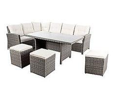 Salotto Perry di 1 divano ad angolo, 3 pouf e 1 tavolo - bianco/grigio