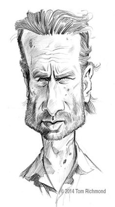 Rick Grimes (Andrew Lincoln) by Tom Richmond Caricature Artist, Caricature Drawing, Funny Caricatures, Celebrity Caricatures, Andrew Lincoln, Drawing Sketches, Art Drawings, Horse Drawings, Drawing Art