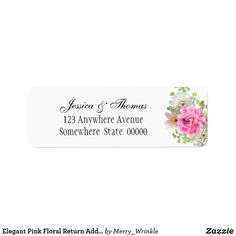 Shop Elegant Pink Floral Return Address Label created by Merry_Wrinkle. Mailing Address Labels, Return Address Labels, Romantic Weddings, Floral Flowers, Customized Gifts, Note Cards, Wedding Engagement, Gift Tags, Create Yourself