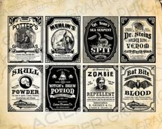 DIY Vintage Halloween Poison Bottle Labels, Digital Download Printable Collage Sheet Tag Clip Art DIY Scrapbook designs Altered Art Witch Ephemera. This listing includes 5 different poison labels per 8.5 inch x 11 inch printable sheet. They can easily be resized up or down using your scale option when you print. All you have to do is print and cut. You are free to print and use these images in your non-commercial print projects.  How To Use:  Halloween bottle labels Halloween wine bottle…