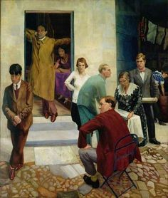 Gathering on the Terrace at 47 Downshire Hill, Hampstead, London Richard Carline Stanley Spencer, English Artists, British Artists, Harlem Renaissance, Art Uk, London Art, Your Paintings, Oil On Canvas, Art Deco