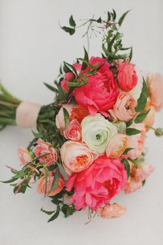 Flowers by Lace and Lilies, Blush, Peach and Coral bridal bouquet, coral peony