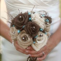 Burlap pearl and ribbon wedding bouquet for bridesmaids. would save money and have the vinatge feel!