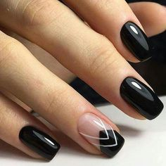 Black Nails With French & White Design