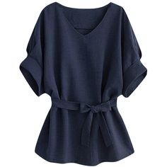 Womens Plus Size V Neck Tunic Short Sleeve Blouse Navy Blue ($18) ❤ liked on Polyvore featuring tops, short sleeve tops, navy top, plus size tops, women plus size tops and v-neck top