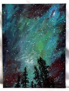 "Northern Lights painting, acrylic on 9"" x 12"" canvas board, original acyrlic painting, unframed office art, wall decor, cosmic sky night sky by ThisArtToBeYours on Etsy"