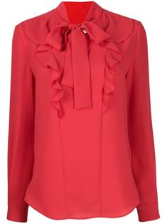 Red Emmeline Georgette blouse from Mulberry featuring a pussy bow fastening, a ruffle trimming, a relaxed fit, long sleeves and a curved hem. Tunic Tops For Leggings, Long Tunic Tops, Long Tunics, Girls Party Wear, Party Wear Dresses, Popular Clothing Stores, Blazers, Clothing Websites, Red Blouses