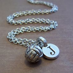 Volleyball Charm Necklace Personalized Volleyball by FiftyEighteen, $16.00